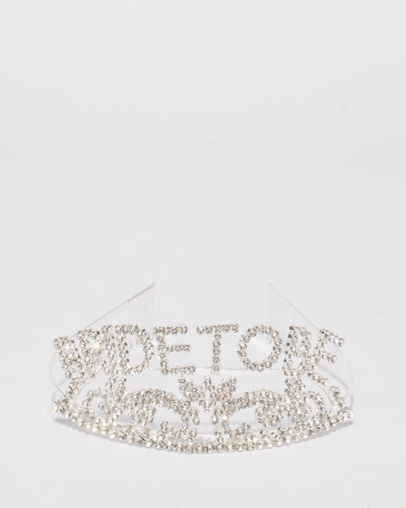 Crystal Silver Tone Bride To Be Headband