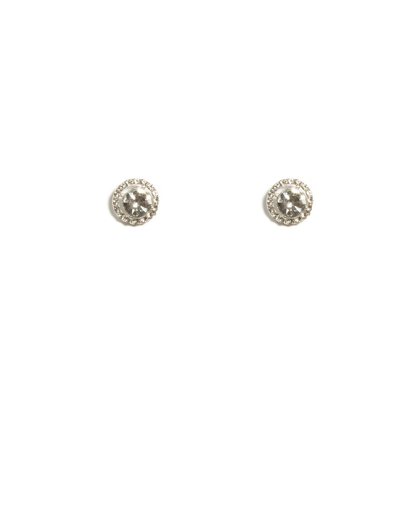 Cubic Zirconia Silver Tone Diamante Halo Stud Earrings