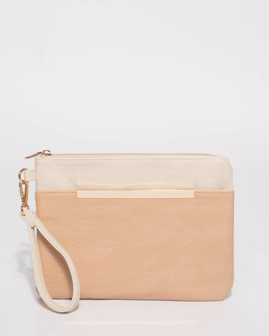 Beige And Ivory Tina Bar Wristlet
