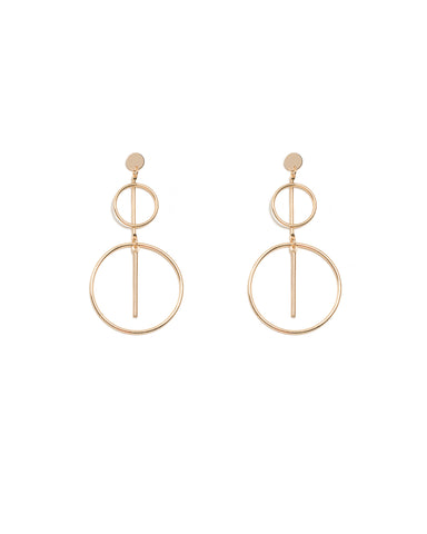Bar In Circle Drop Statement Earrings