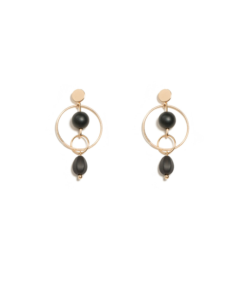 Ball In Circle Drop Statement Earrings