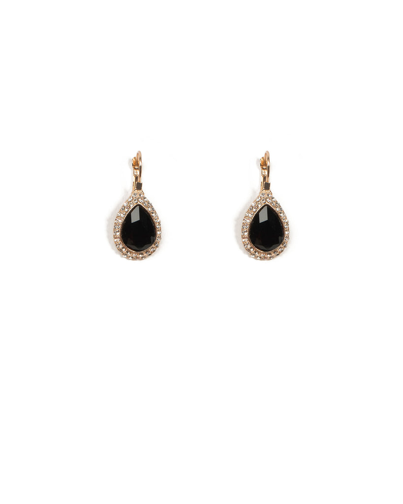 Teardrop Pave Halo Drop Earrings
