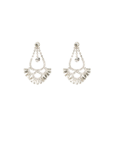 Silver Tone Diamante Baguette Statement Drop Earrings