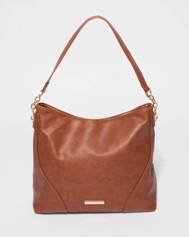Leni Smooth Tan Slouch Tote