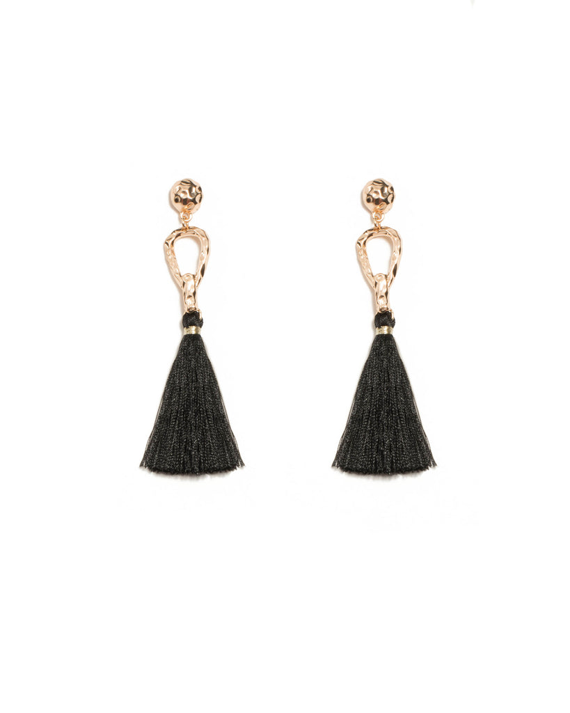 Metal Loop Tassel Statement Earrings