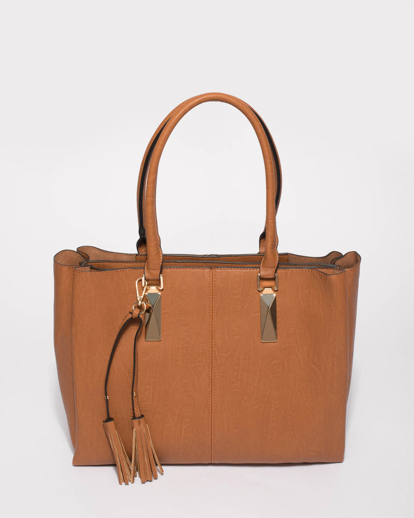 Tan Stacey Tassel Tote Bag