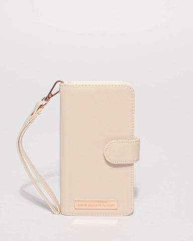Ivory Saffiano Iphone 6, 7 & 8 Plus Purse