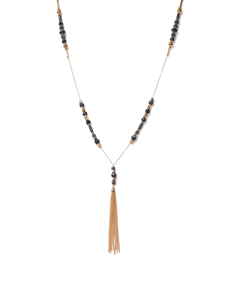 Blue Gold Tone Beaded Stationed Tassel Necklace