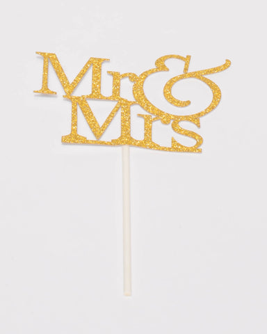 Mr And Mrs Gold Glitter Cake Topper