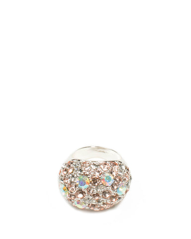 Silver Tone Multi Diamante Cocktail Ring - Medium