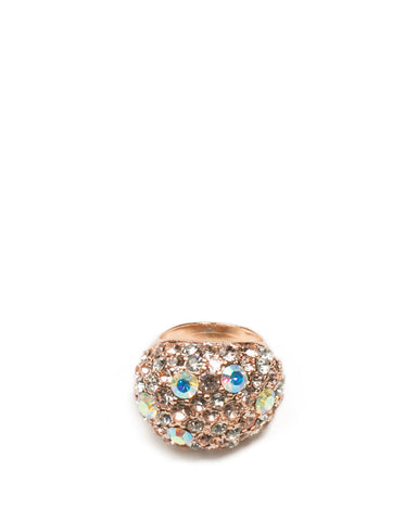 Rose Gold Tone Multi Diamante Cocktail Ring - Large