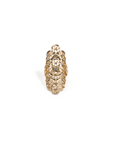 Gold Filigree Diamante Stone Armour Ring - Large