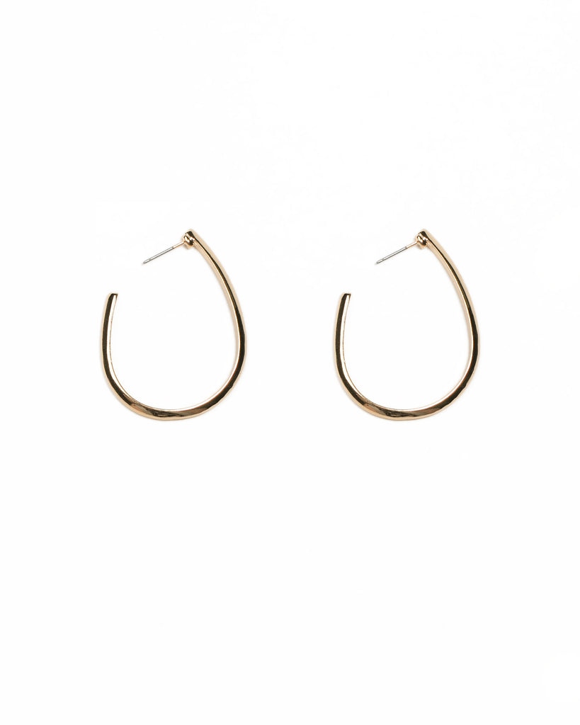 Gold Tone Metal Oval Hoop Earrings