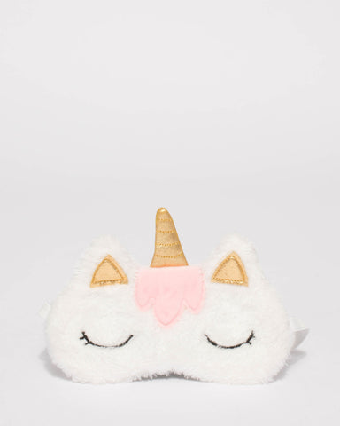 White Faux Furry Unicorn Eyemask