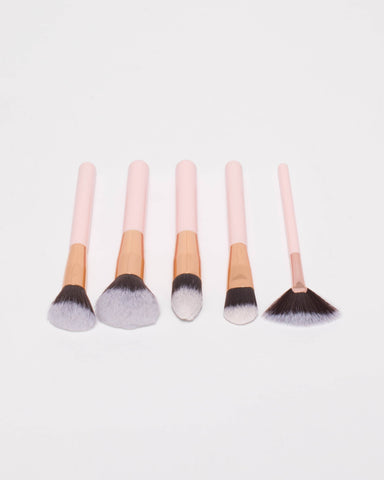 Pink Rose Gold Tone Face Cosmetic Brush Set