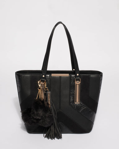 Black Multi Textured Tegan Tote