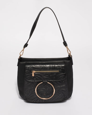 Hannah Black Embossed Ring Tote Bag