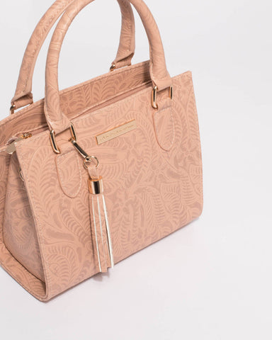Pink Embossed Steph Tassel Mini Bag