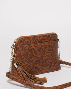Tan Embossed Karen Crossbody Bag
