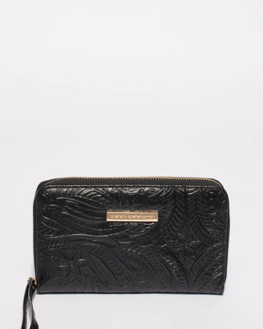 Black Embossed Gwen Wristlet Wallet