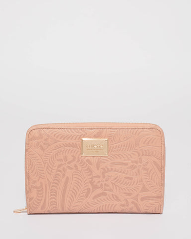 Pink Embossed Jenna Travel Wallet