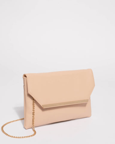 Beige Saffiano Ginger Fold Over Clutch