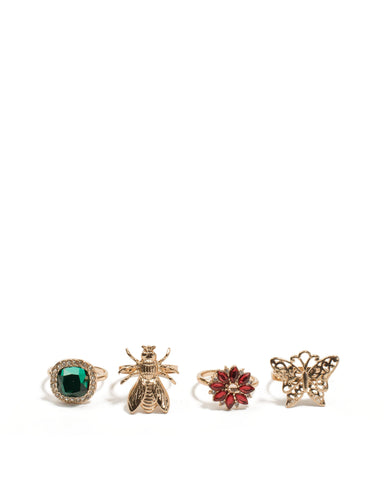 Multi Colour Gold Tone Bug Stone Ring Pack - Medium