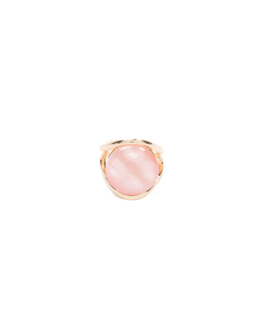 Pink Round Stone Gold Cocktail Ring - Medium