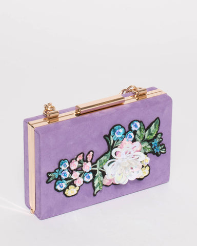 Selena Suedette Purple Patch Chain Clutch
