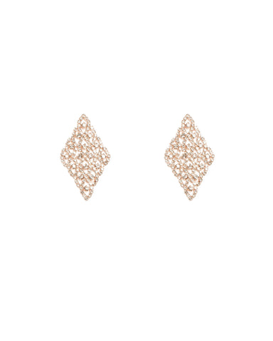 Rose Gold Tone Diamante Cup Shape Chain Earrings