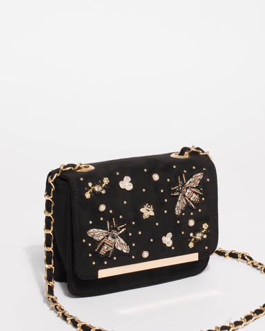 Ainsley Pin Black Mini Crossbody Bag