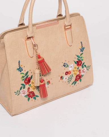 Norelle Smooth Beige Embroidery Tote