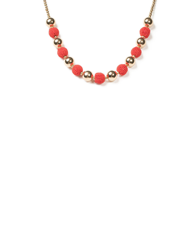 Red Gold Tone Opaque Beaded Ball Necklace