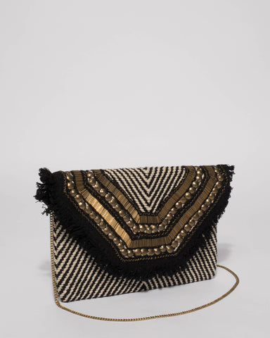 Monochrome Gold Pia Clutch Bag