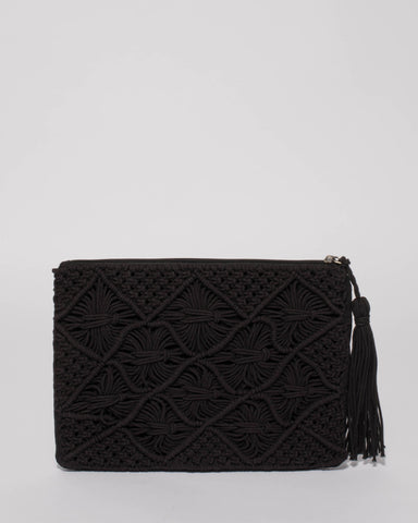 Black Billie Woven Clutch Bag