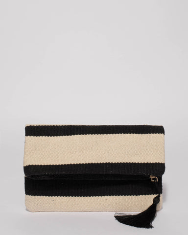 Monochrome Gold Evie Foldover Clutch Bag
