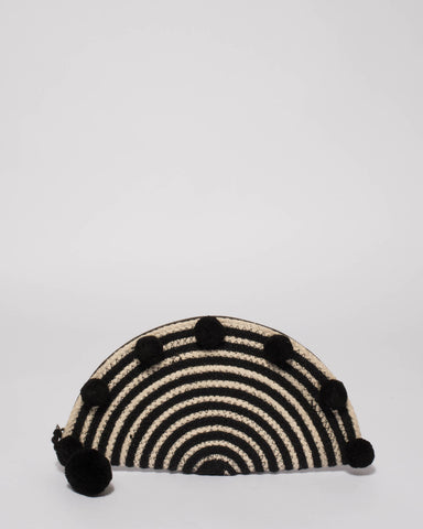 Monochrome Freya Round Clutch Bag