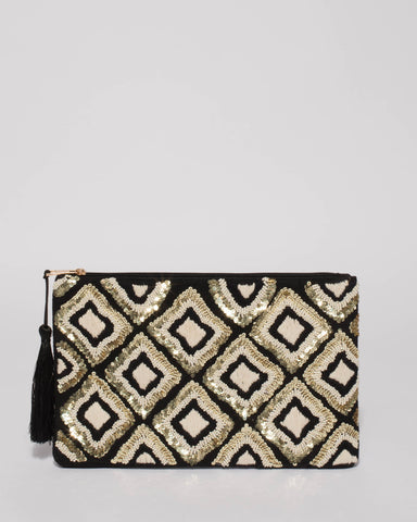 Monochrome Gold Yvette Sequin Clutch Bag