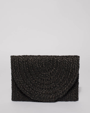 Black Indi Plain Clutch Bag