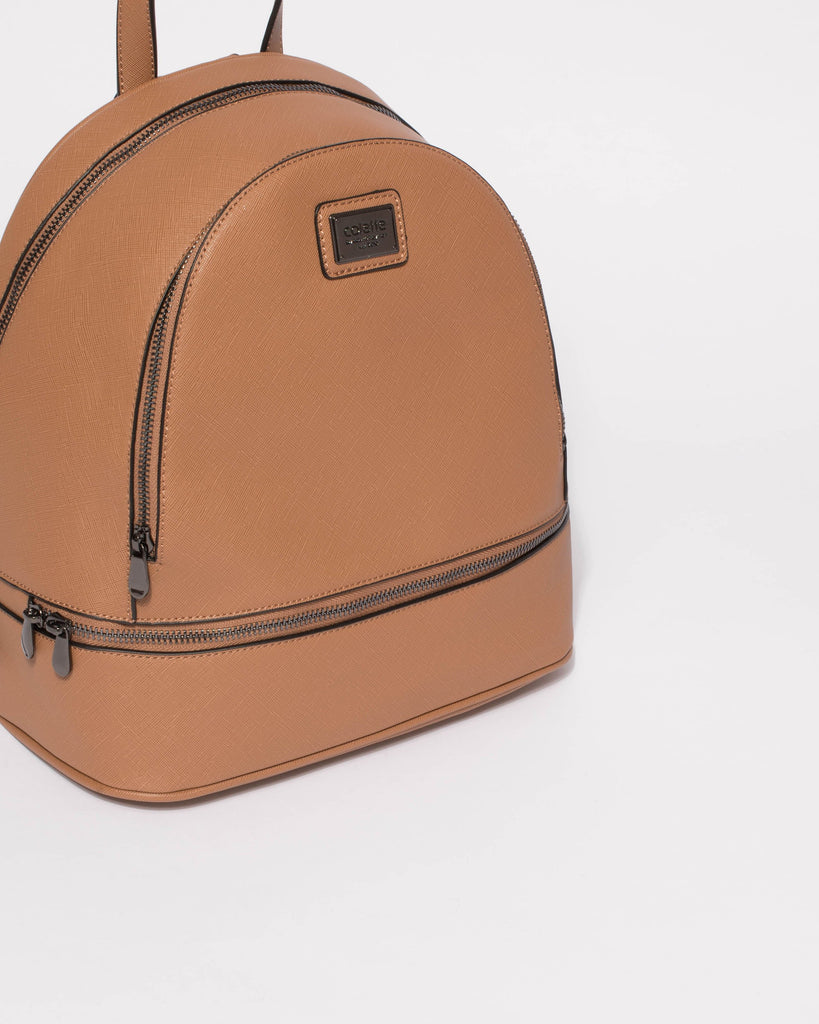 Caramel Bridget Large Backpack Gunmetal Hardware