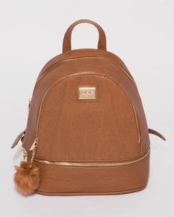 Tan Bridget Medium Backpack With Gold Hardware