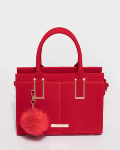 Stef Red Velvet Pom Pom Mini Bag