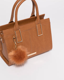 Tan Smooth Stef Pom Pom Mini Bag