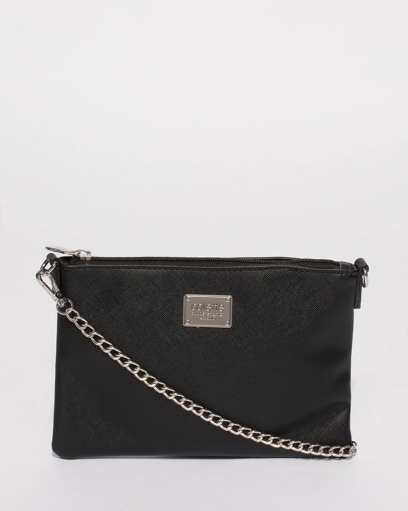 Black Plain Peta Chain Crossbody Bag With Silver Hardware