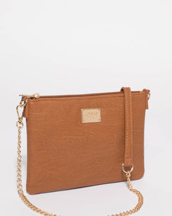 Tan Plain Peta Chain Crossbody Bag