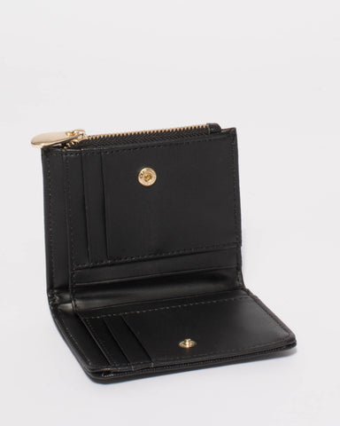 Black Saffiano Han Mini Wallet