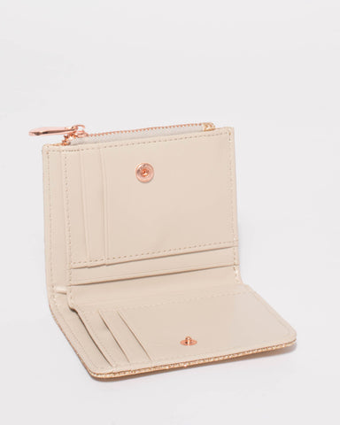 Rose Gold Glitter Han Mini Wallet