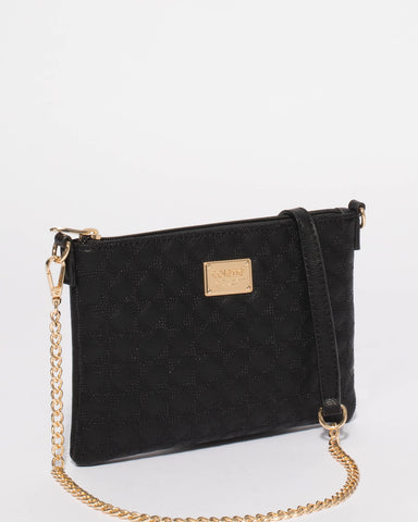 Black Diamond Quilt Crossbody Bag
