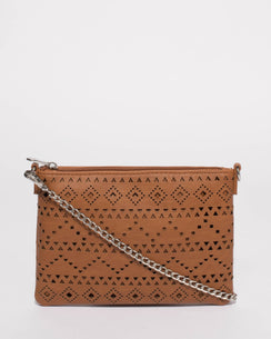 Tan Punchout Peta Crossbody Bag