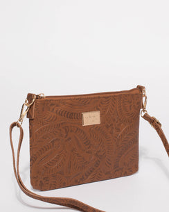 Tan Embossed Peta Crossbody Bag